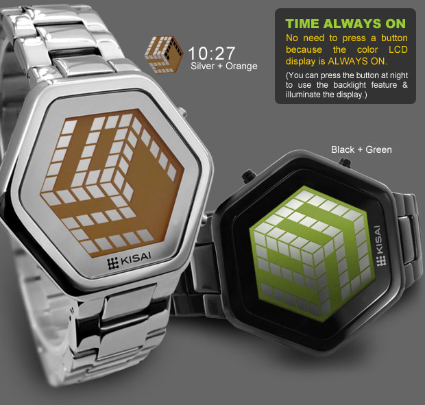 3d unlimited silver orange lcd watch В кубе